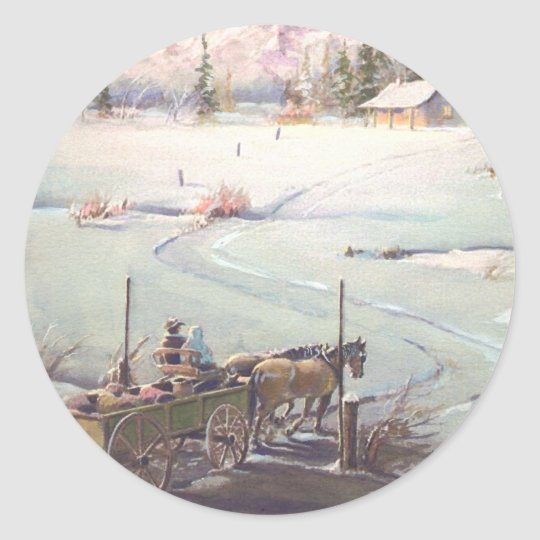 BUCKBOARD WAGON by SHARON SHARPE Classic Round Sticker