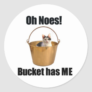 Bucket Cat Classic Round Sticker