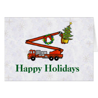 Bucket Firetruck Christmas Card
