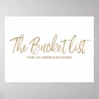 Bucket List 8x10 Stylish Rose Gold Wedding Sign