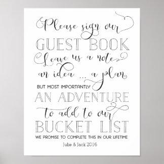 Bucket List Guestbook Sign