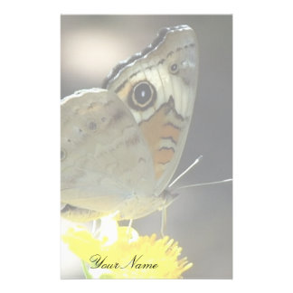 Buckeye Butterfly on Yellow Flower and Your Name Stationery