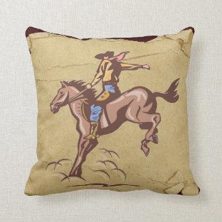 Bucking bronco cowboy tattered rodeo pillow