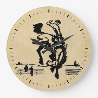 Bucking Bronco Rider Large Clock