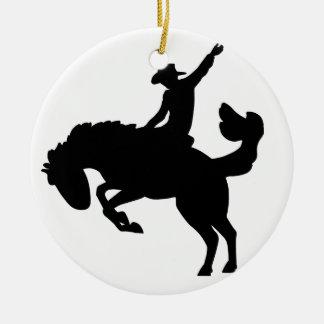 Bucking Bronco Rider Round Ceramic Ornament