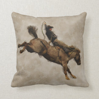Bucking Bronco Rodeo Cowboy Throw Pillow
