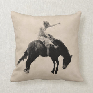 Bucking Bronco Rodeo Rider Throw Pillow