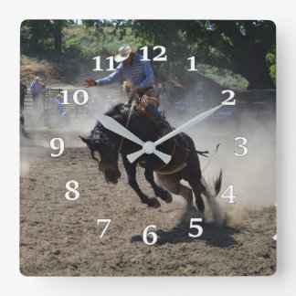 Bucking Bronco Square Wall Clock