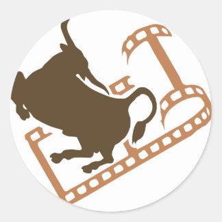 Bucking Bull Film Reel Classic Round Sticker