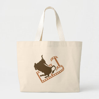 Bucking Bull Film Reel Large Tote Bag