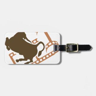 Bucking Bull Film Reel Luggage Tag