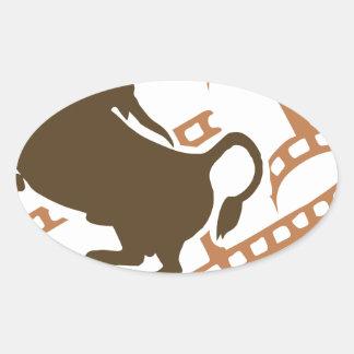 Bucking Bull Film Reel Oval Sticker