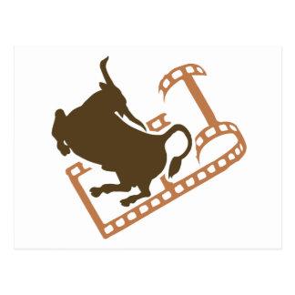 Bucking Bull Film Reel Postcard