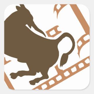Bucking Bull Film Reel Square Sticker