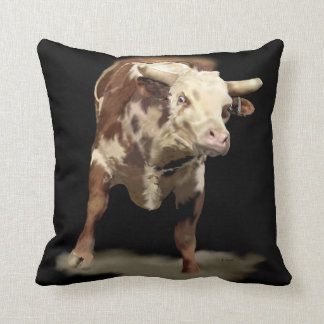 Bucking Bull Print Throw Pillow