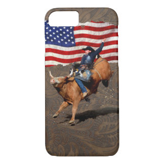 Bucking Bull Rodeo Cowboy, US Flag on Faux Leather iPhone 7 Case