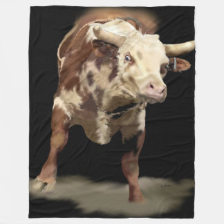 Bucking Rodeo Bull Fleece Blanket