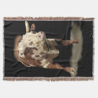 Bucking Rodeo Bull Throw Blanket