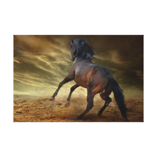Bucking wild mustang canvas print