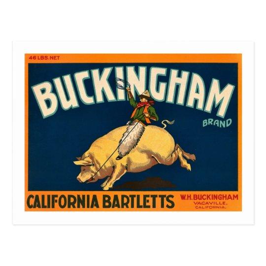 Buckingham Bartlett Apples - Vintage Crate Label Postcard