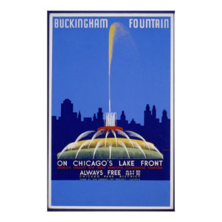 Buckingham Fountain Chicago Vintage Poster