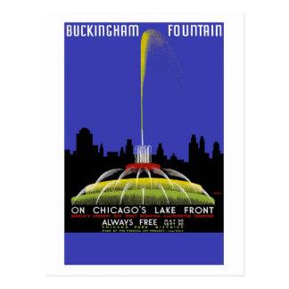 """Buckingham Fountain, Chicago"" Vintage Travel Postcard"