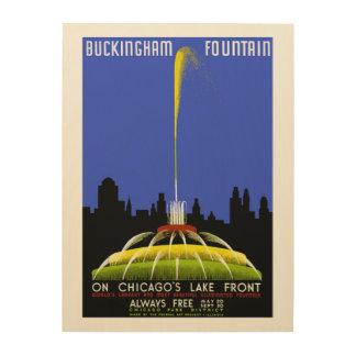 Buckingham Fountain Chicago Vintage WPA Wood Prints
