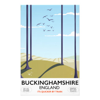 Buckinghamshire England railway travel poster Custom Stationery