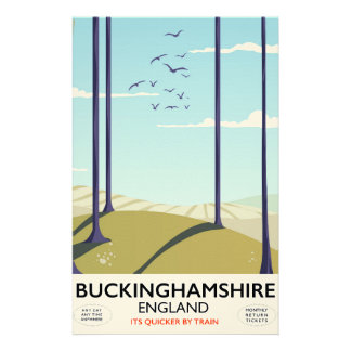 Buckinghamshire England railway travel poster Stationery