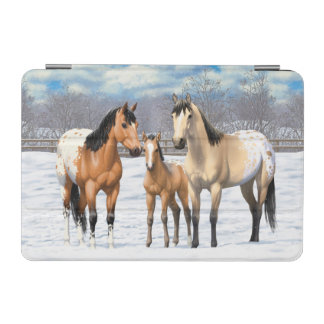 Buckskin Appaloosa Horses In Snow iPad Mini Cover