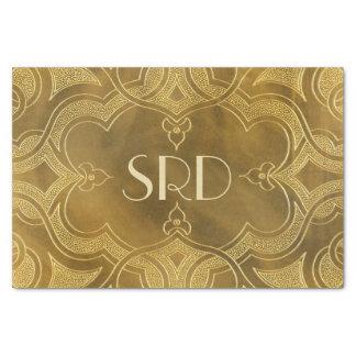 Buckskin Leather Art Deco Frame tan Tissue Paper