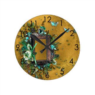 Buckskin Leather Victorian Frame tan butterflies Clock