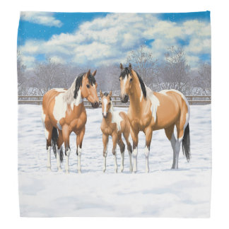 Buckskin Paint Horses In Snow Bandana