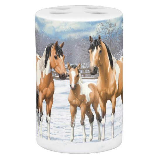 Buckskin Paint Horses In Snow Bath Accessory Sets