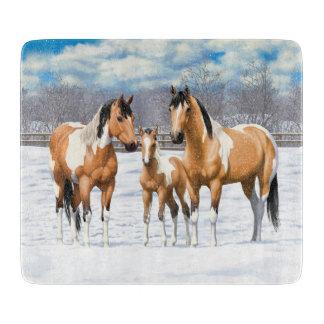 Buckskin Paint Horses In Snow Boards