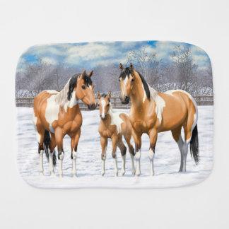 Buckskin Paint Horses In Snow Burp Cloth