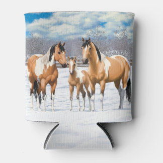 Buckskin Paint Horses In Snow Can Cooler