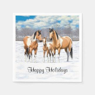 Buckskin Paint Horses In Snow Disposable Napkin
