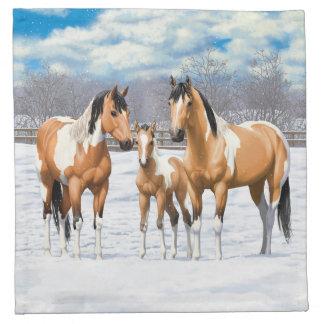 Buckskin Paint Horses In Snow Napkin