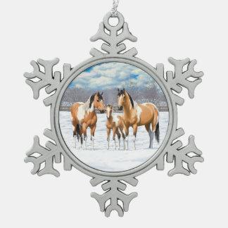 Buckskin Paint Horses In Snow Snowflake Pewter Christmas Ornament