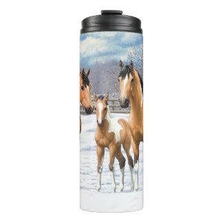 Buckskin Paint Horses In Snow Thermal Tumbler