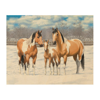 Buckskin Paint Horses In Snow Wood Wall Art