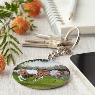 Buckskin Tobiano Paint Horses Keychain