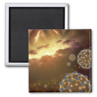 Buckyballs floating in interstellar space magnet
