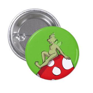 Bud on a mushroom 1 inch round button