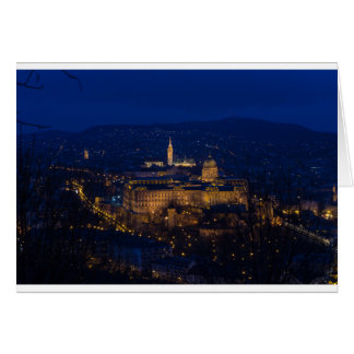 Buda Castle Hungary Budapest at night Card