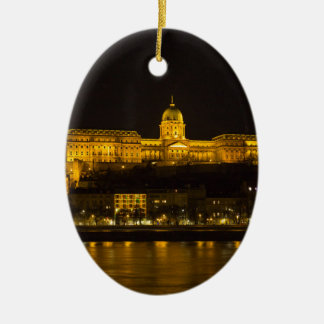 Buda Castle Hungary Budapest at night Ceramic Ornament