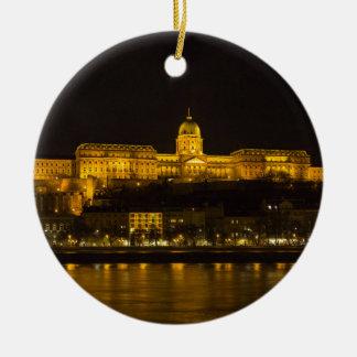 Buda Castle Hungary Budapest at night Ceramic Ornament