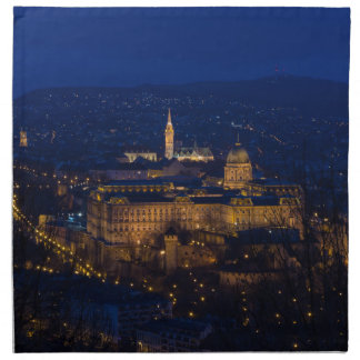 Buda Castle Hungary Budapest at night Printed Napkin