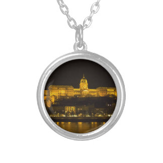 Buda Castle Hungary Budapest at night Silver Plated Necklace